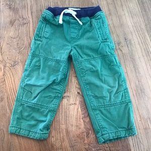 Mini Boden Lined Green Woven Drawstring Pants